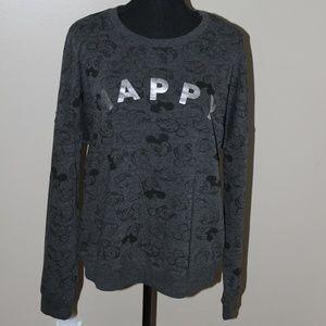 Disney Mickey Mouse Gray & Black HAPPY Sweatshirt